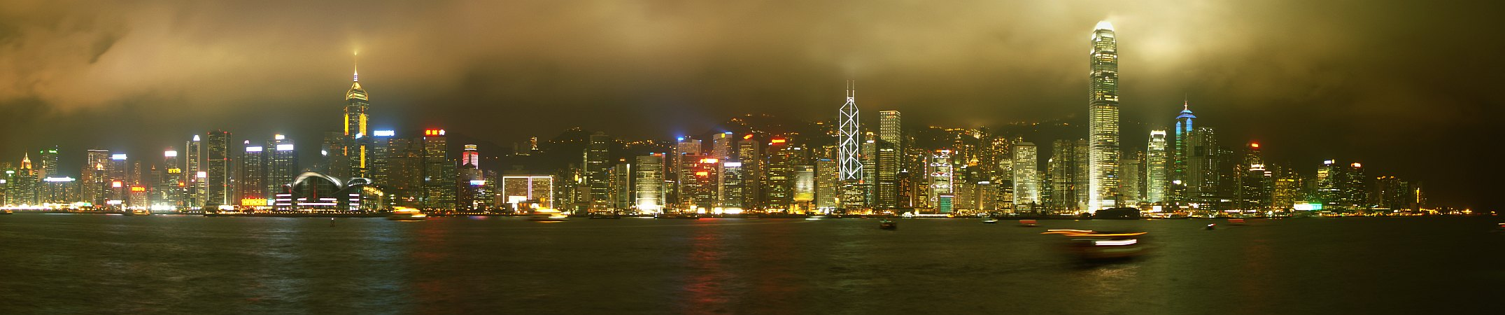 Photo - Vue panoramique - Ile de Hong Kong de nuit